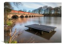 Carr Mill Dam and the 19 Arch Bridge , Canvas Print