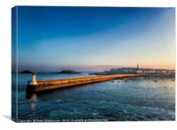 St Malo Lighthouse and Town at Dawn, Canvas Print