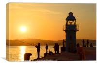 Anglers at Brixham Breakwater Lighthouse at Dusk, Canvas Print