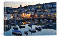 Brixham at Night, Canvas Print