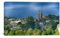 Totnes Church and Castle in Autumn, Canvas Print