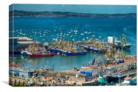 Brixham Harbour after the Trawler Race, Canvas Print