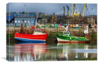 Fishing Boats in Brixham Harbour                  , Canvas Print