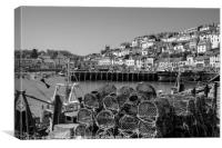 Brixham Harbour with Crab Pots in Monochrome, Canvas Print