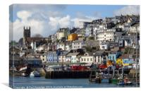 Brixham Harbourside, Canvas Print