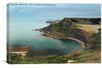 Yachts Anchored in Chapman's Pool, Dorset , Canvas Print