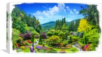 Butchart Gardens Painterly, Canvas Print