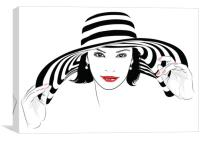 Girl with dark hair in big striped hat , Canvas Print