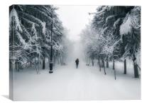 Snow-covered city alley with a lonely passer, Canvas Print