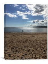 Father and Son Silhoutte on Exmouth Beach, Canvas Print