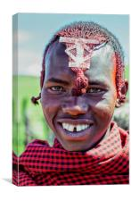 Portrait young African Maasai 4220, Canvas Print