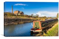 Houseboat on the Kennet and Avon Canal and Crofton, Canvas Print