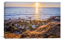 Trevardock Beach in North Cornwall at sunset, Canvas Print