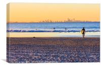 Surfer walks away from the sea , Canvas Print