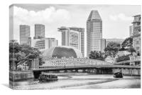 Bum boats on the Singapore river, Canvas Print