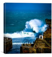 Storm waves at Portreath, Canvas Print