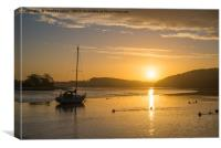 Sunrise at St Germans quay , with golden sky, Canvas Print