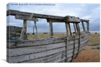 Abandoned boat at Dungeness in colour, Canvas Print