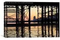 Hastings pier afterglow, Canvas Print