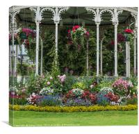 arbor with flowers in red blue and yellow, Canvas Print