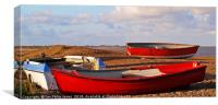 Red Fishing Boats On Dunwich Beach Suffolk, Canvas Print