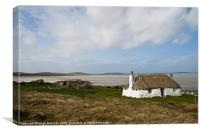 Building, Cottage, Thatched, White walls, Canvas Print