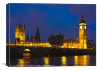 Big Ben and Westminster Bridge, Canvas Print