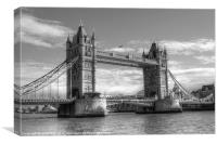Tower Bridge in black and white, Canvas Print