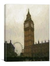 Big Ben and the London Eye as an oil painting, Canvas Print