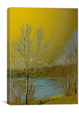 Icy lake under a golden sky, Canvas Print