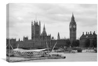 Palace of Westminster in Black and White, Canvas Print