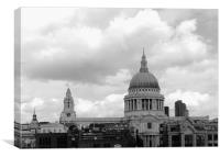 St Pauls Cathedral in Black and White, Canvas Print