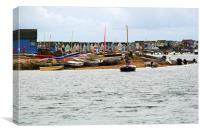 Beach Huts and boats at Hengistbury Head Dorset, Canvas Print