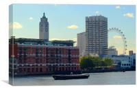 Oxo Tower and London Eye, Canvas Print