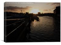 Sunset over Sutton Harbour Plymouth, Canvas Print