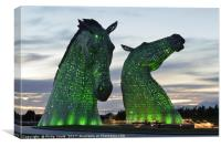 Kelpies at dusk floodlit in Green., Canvas Print