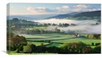 Llanhamlach Old School as an autumn mist rises., Canvas Print