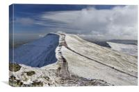 Pen y Fan in winter from the summit of Corn Du., Canvas Print