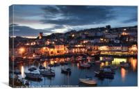 Brixham Harbour at night., Canvas Print