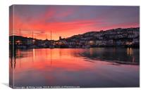 Sunset, Brixham Harbour, Torbay, Devon., Canvas Print