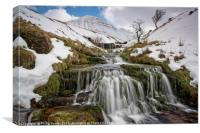 Cribyn in winter from the Nant Sere., Canvas Print