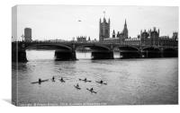Kayaks by Thames river at Westminster Bridge, Canvas Print