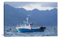 Fishing Boat in Elgol Harbour & Cuillins Mountains, Canvas Print
