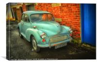 A Blue Morris Minor, Canvas Print