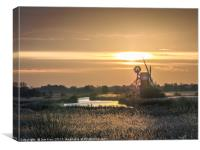 Turf Fen Drainage Mill  -  Sunset, Canvas Print