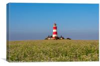 Happisburgh Lighthouse and Cottages., Canvas Print