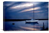 White boat at Dusk, Canvas Print