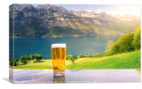 Glass of beer in a summer alpine scenery, Canvas Print