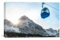 Cable car and snow-capped mountains, Canvas Print