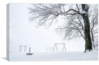 Snowstorm over an empty playground, Canvas Print